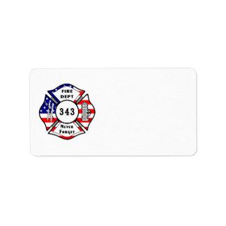 Firefighter 9/11 Never Forget 343 Address Label