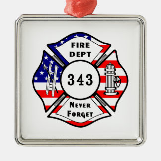 Firefighter 9/11 Never Forget 343 Christmas Ornament