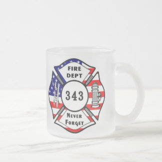 Firefighter 9/11 Never Forget 343 Frosted Glass Mug