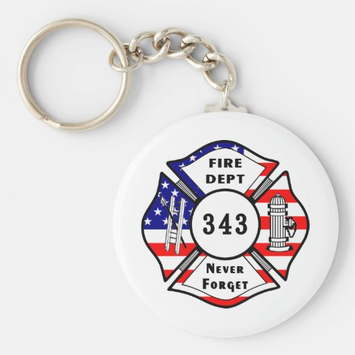 Firefighter 9/11 Never Forget 343 Keychains