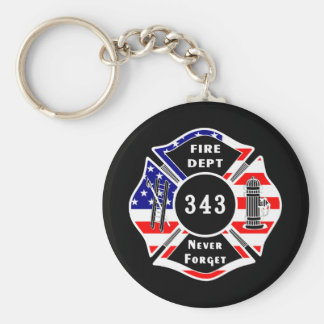 Firefighter 9/11 Never Forget 343 Basic Round Button Key Ring
