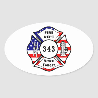 Firefighter 9/11 Never Forget 343 Oval Sticker