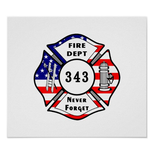 Firefighter 9/11 Never Forget 343 Print