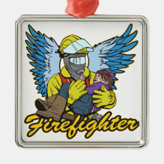 Firefighter Angel Silver-Colored Square Decoration