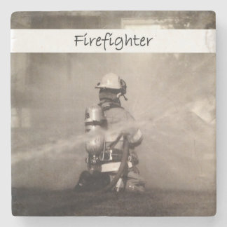 Firefighter At Work Stone Coaster