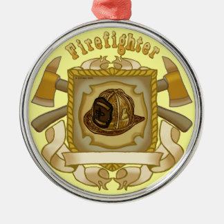 FireFighter Ax Shield premium round ornament
