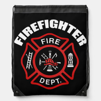 Firefighter Badge Drawstring Bags