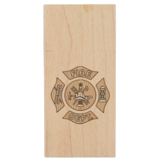Firefighter Badge Wood USB Flash Drive