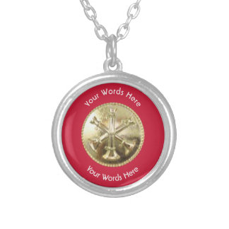 Firefighter Battalion Chief Gold Medallion Round Pendant Necklace