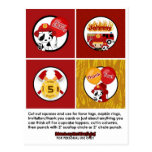 FIREFIGHTER Birthday Cupcake Topper Tags FF01C Post Card