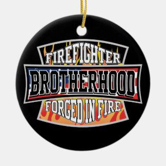 Firefighter Brotherhood Round Ceramic Decoration