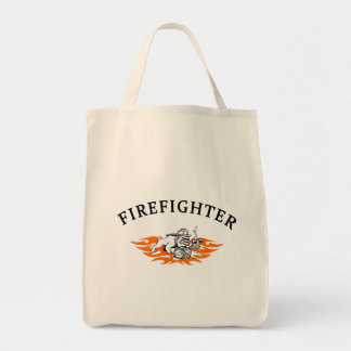 Firefighter Bull Dog Tough Grocery Tote Bag