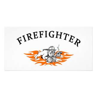 Firefighter Bull Dog Tough Photo Cards
