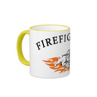 Firefighter Bull Dog Tough Ringer Mug