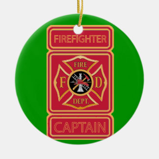 Firefighter Captain Round Ceramic Decoration