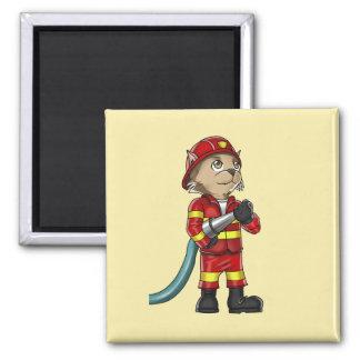 Firefighter Cat Magnet