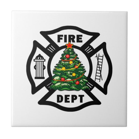Firefighter Christmas Fire Dept Small Square Tile