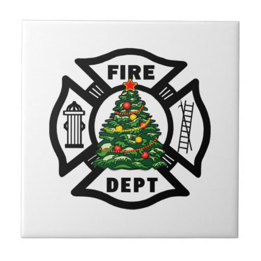Firefighter Christmas Fire Dept Tiles
