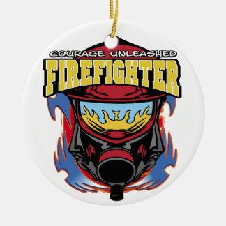 Firefighter Courage Round Ceramic Decoration