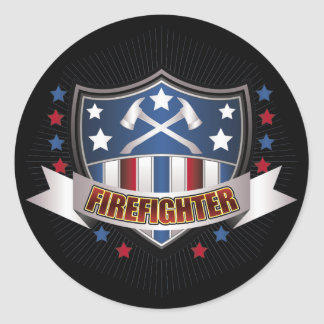 Firefighter Crest Classic Round Sticker