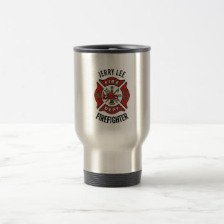 Firefighter Custom Text Name Personalized Travel Mug