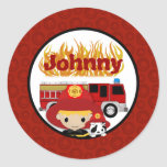FIREFIGHTER dalmatian fire truck FIRE name #2 01C Round Stickers