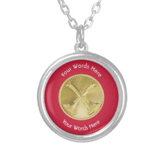 Firefighter Division Chief Gold Medallion Round Pendant Necklace