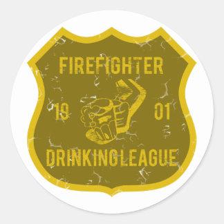 Firefighter Drinking League Round Sticker