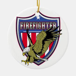 Firefighter Eagle Shield Round Ceramic Decoration