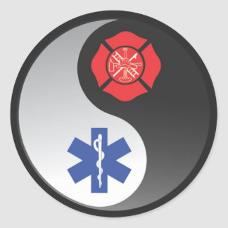 firefighter ems classic round sticker