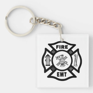 Firefighter EMT Double-Sided Square Acrylic Key Ring