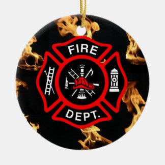 Firefighter EMT   Fireman Fire Dept Maltese Cross Christmas Ornament