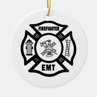 Firefighter EMT Round Ceramic Decoration