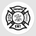 Firefighter EMT Round Stickers