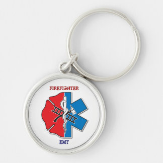 firefighter emt Silver-Colored round key ring