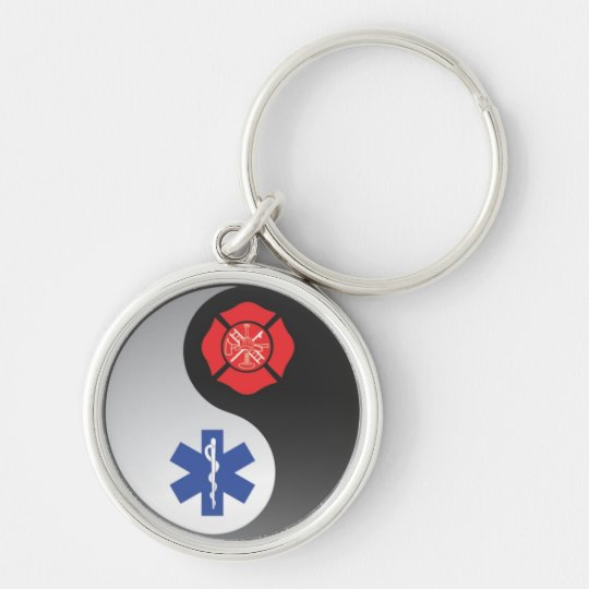firefighter emt ying yang Silver-Colored round key ring