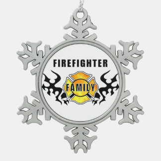 Firefighter Family Snowflake Pewter Christmas Ornament
