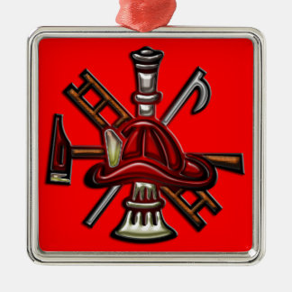 Firefighter Fire and Rescue Department Emblem Silver-Colored Square Decoration