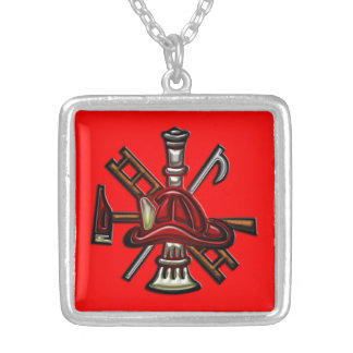 Firefighter Fire and Rescue Department Emblem Silver Plated Necklace
