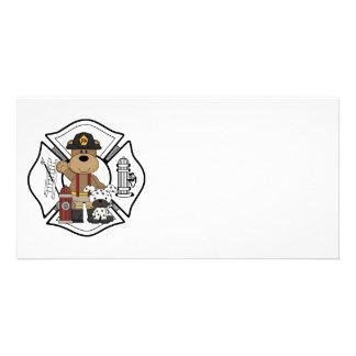 Firefighter Fire Dept Bear Photo Card