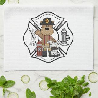 Firefighter Fire Dept Bear Tea Towel