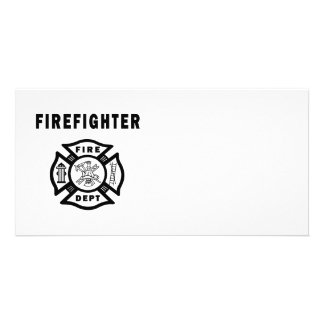 Firefighter Fire Dept Logo Personalised Photo Card