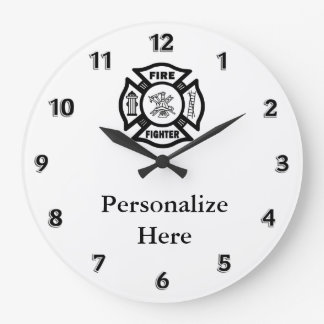 Firefighter Fire Dept Symbol Large Clock