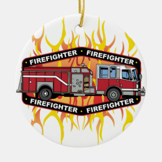 Firefighter Fire Truck Christmas Ornament