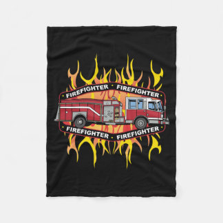 Firefighter Fire Truck Fleece Blanket