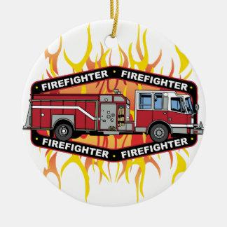 Firefighter Fire Truck Round Ceramic Decoration