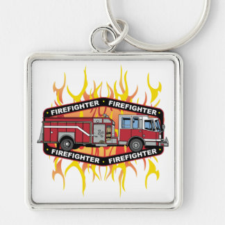 Firefighter Fire Truck Silver-Colored Square Key Ring
