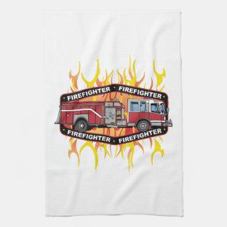 Firefighter Fire Truck Tea Towel