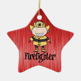 Firefighter Fireman on Red Christmas Ornament