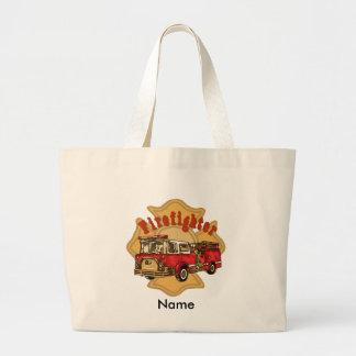 Firefighter Firetruck jumbo tote bag